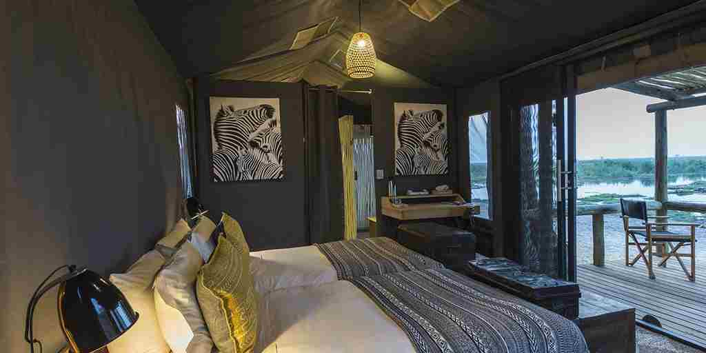 Twin tented bedroom, Linyanti Tented Camp