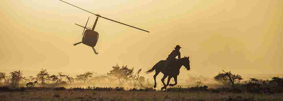 Helicopter and horse ride adventure activities at Ol Malo safari lodge