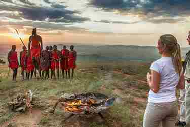 Massai warriors jumping on a Tanzania Safari